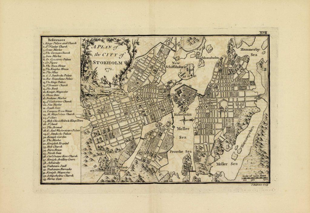 Карта Стокгольма, 1771 г.