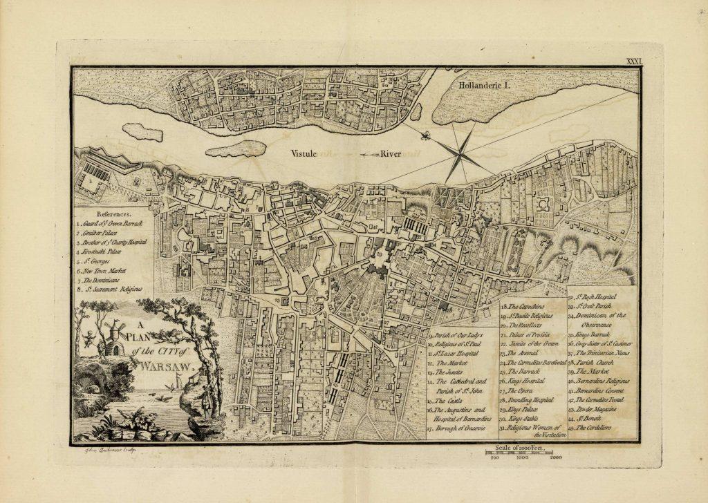 Карта Варшавы, 1771 г.
