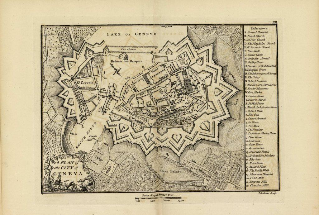 Карта Женевы, 1771 г.