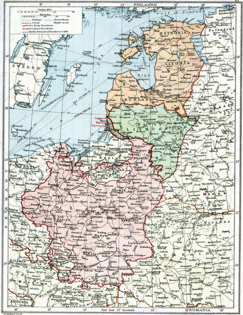 Карта Европы 1918 г.