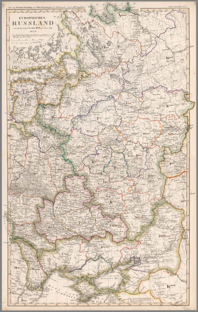 Карта Европейской части России, 1825 г.
