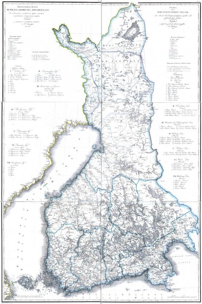Карта Великого княжества Финляндского, 1821 г.