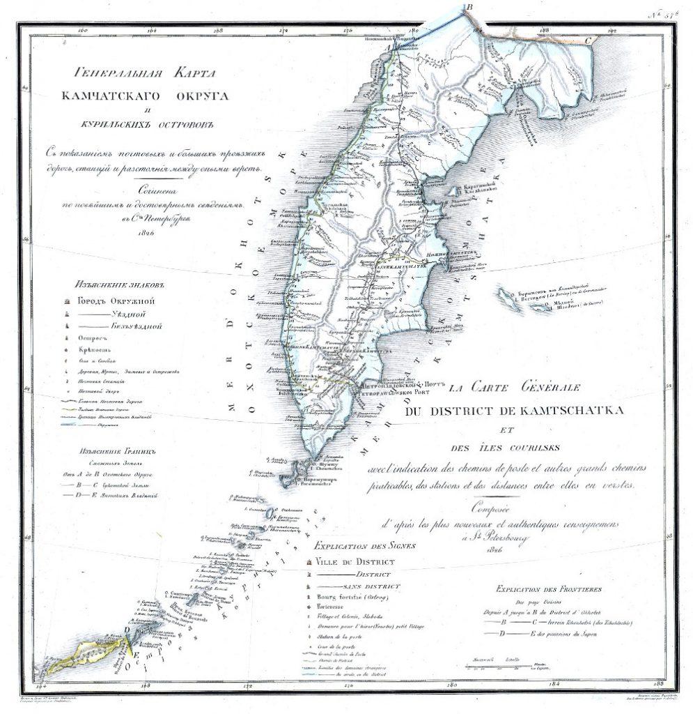 Карта Камчатского округа, 1821 г.