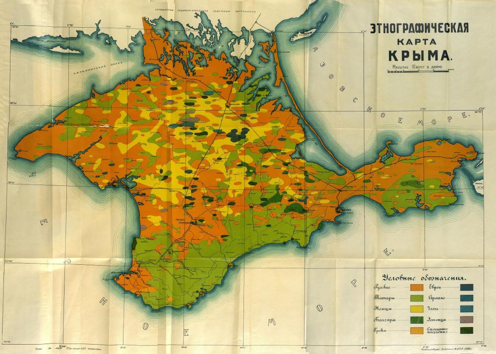 Этнографическая карта Крыма, 1926 г.