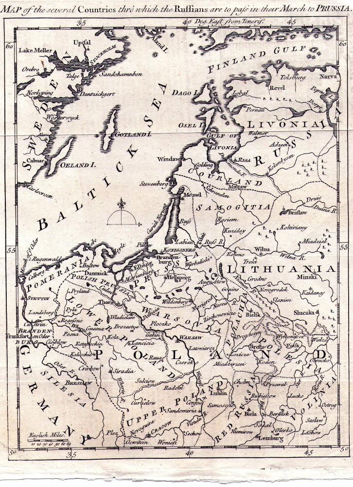 Карта Восточной Пруссии, 1757 г.
