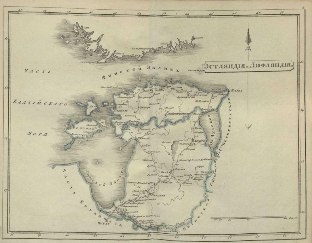 Карта Эстляндской и Лифляндской губерний, 1808 г.