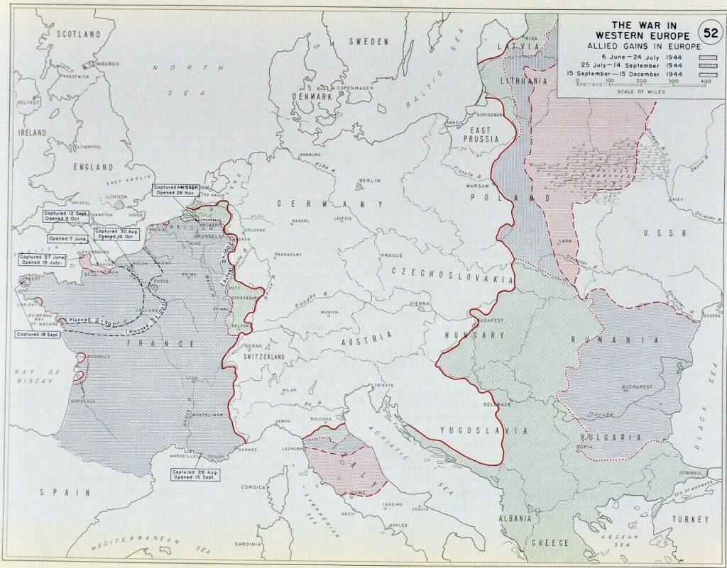 Карта Центральной Европы, 1944 г.