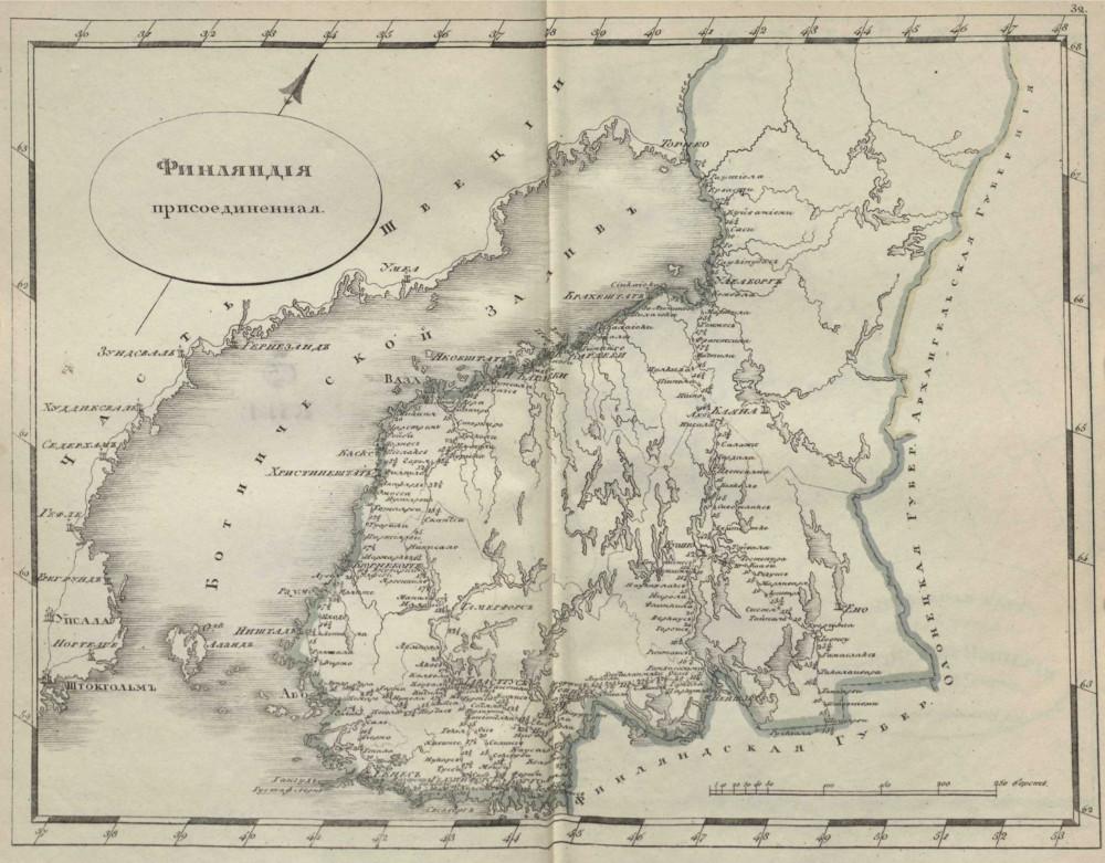 Карта Финляндии, 1808 г.