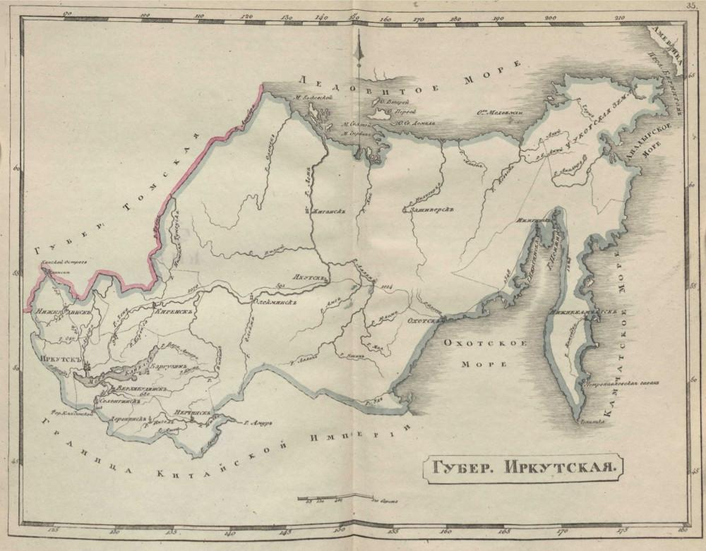 Карта Иркутской губернии, 1808 г.