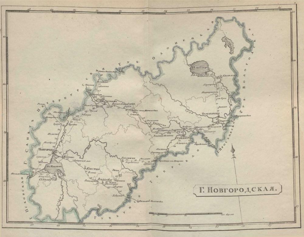 Карта Новгородской губернии, 1808 г.