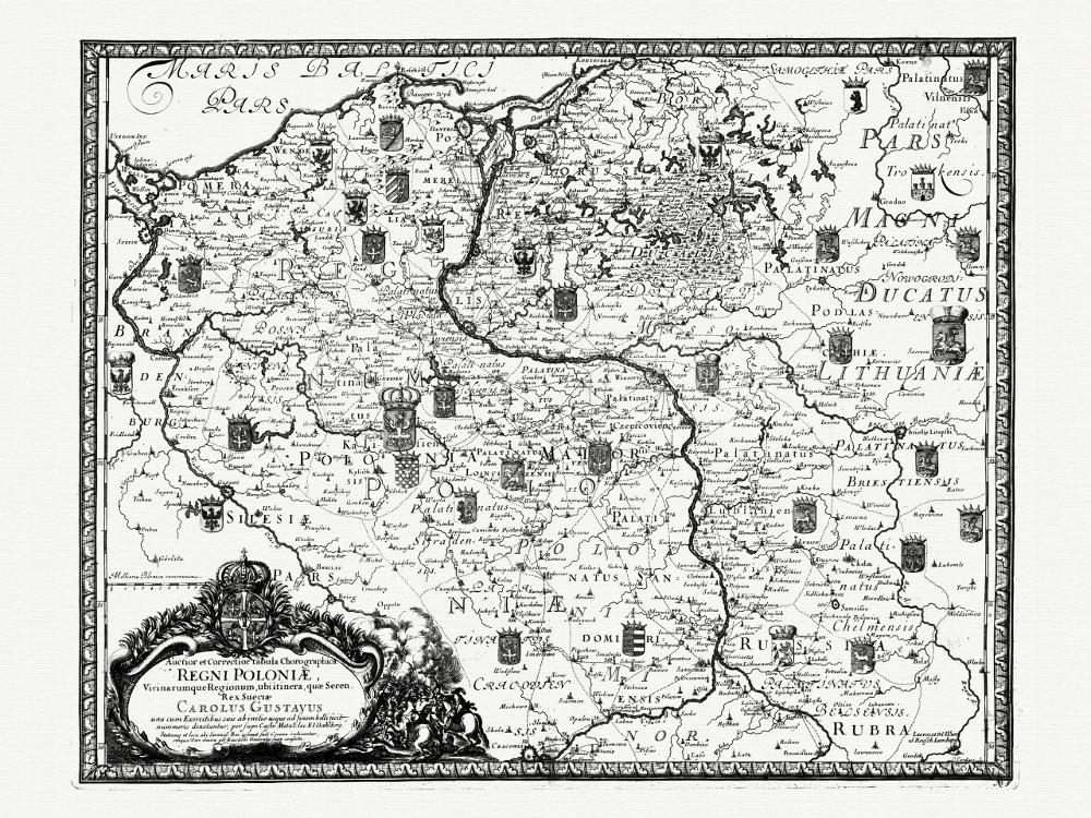 Карта Польши, 1696 г.