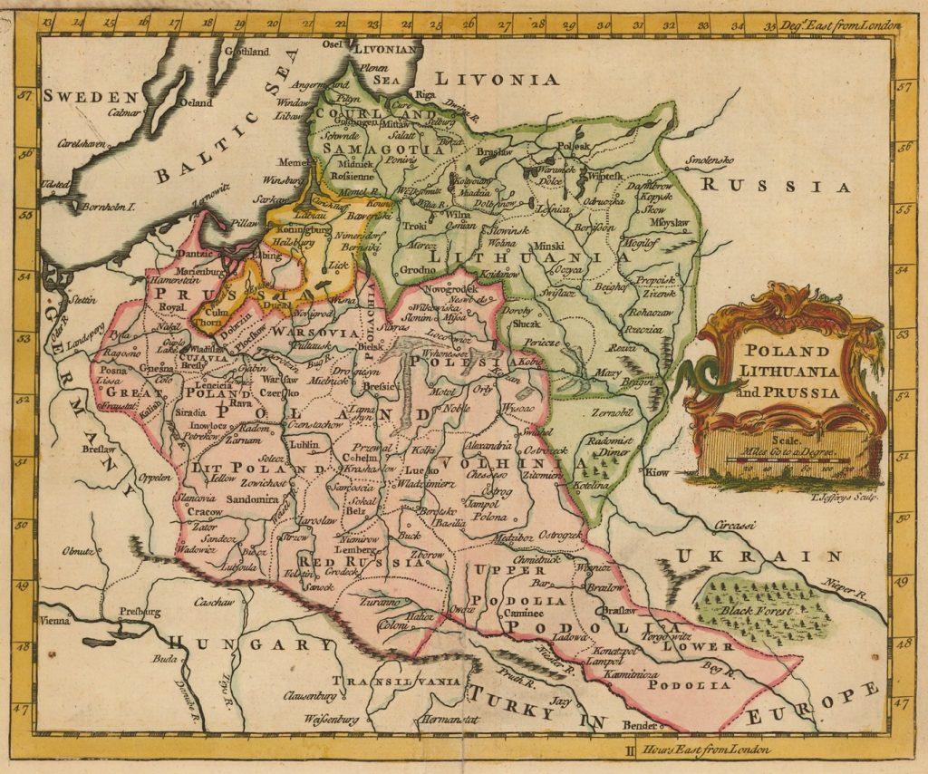 Карта Речи Посполитой и Пруссии, 1754 г.