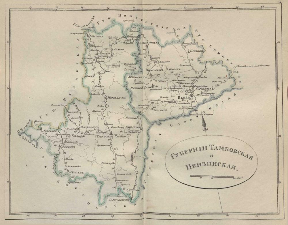 Карта Тамбовской и Пензенской губернии, 1808 г.