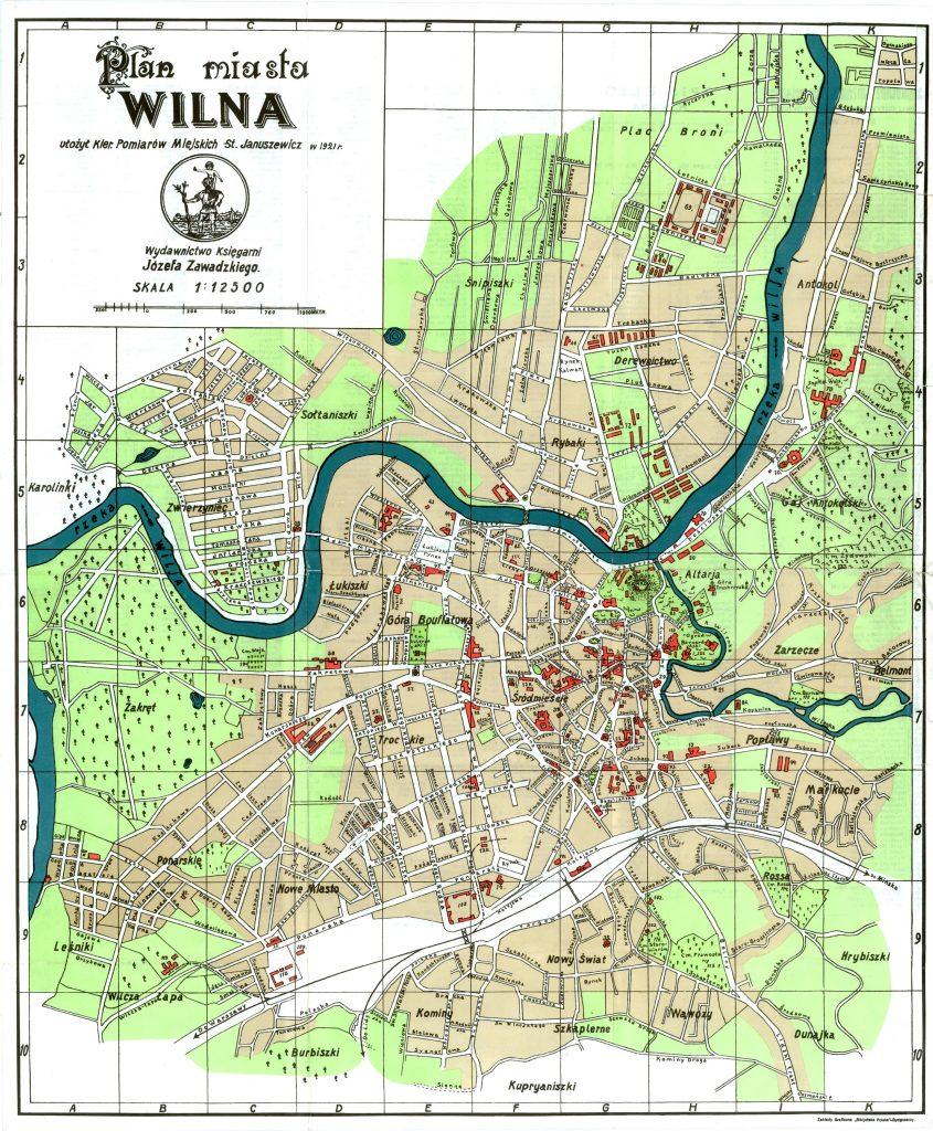 Карта Вильно, 1921 г.