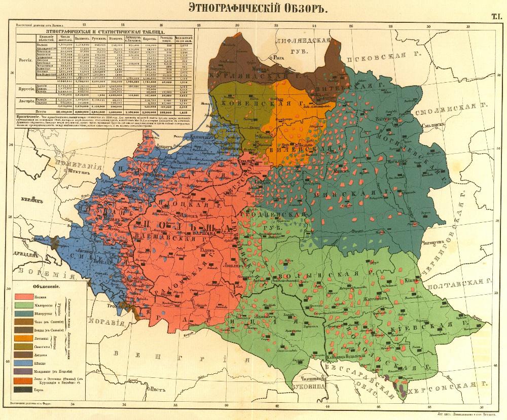 Этнографическая карта западных губерний России, 1863 г.