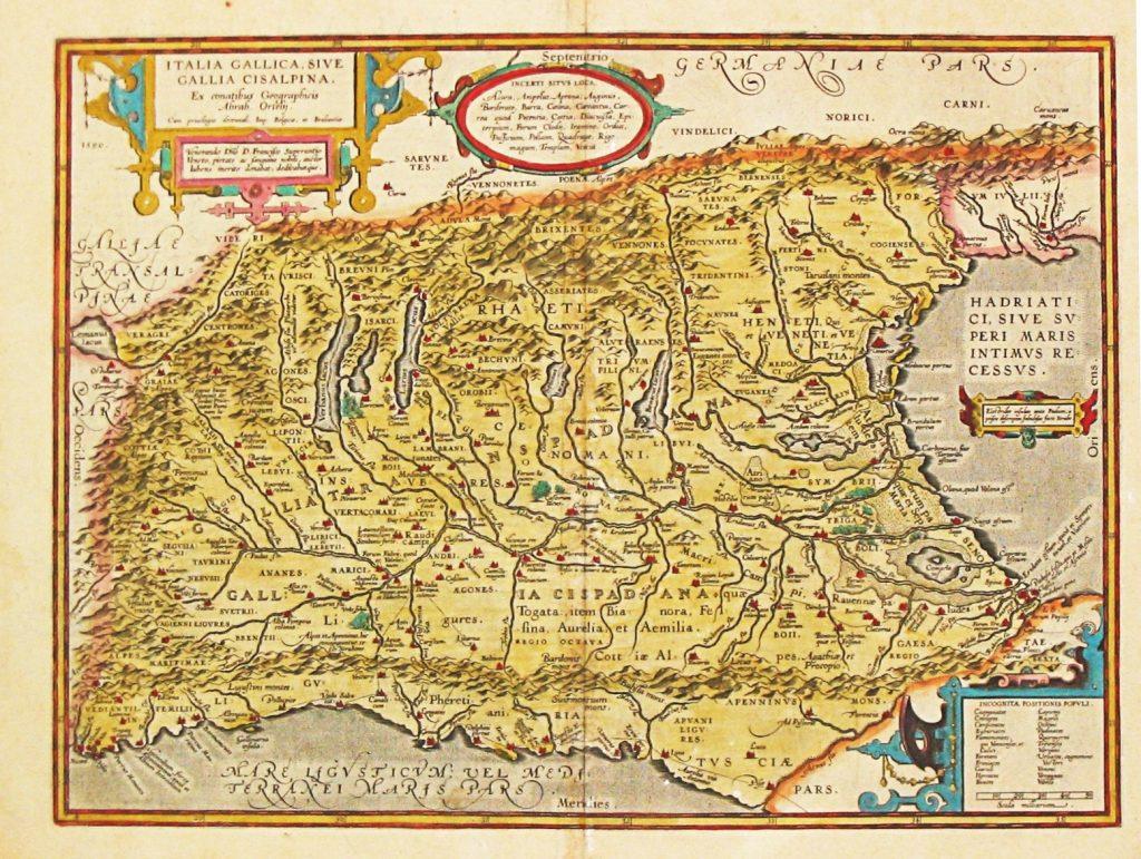 Карта Цизальпинской Галлии, 1608 г.