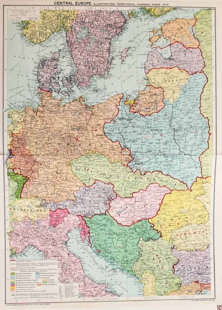 Карта Центральной Европы, 1914 г.