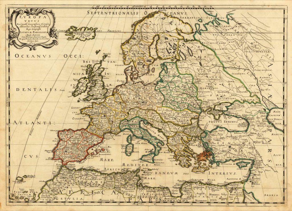 Карта Европы, 1650 г.