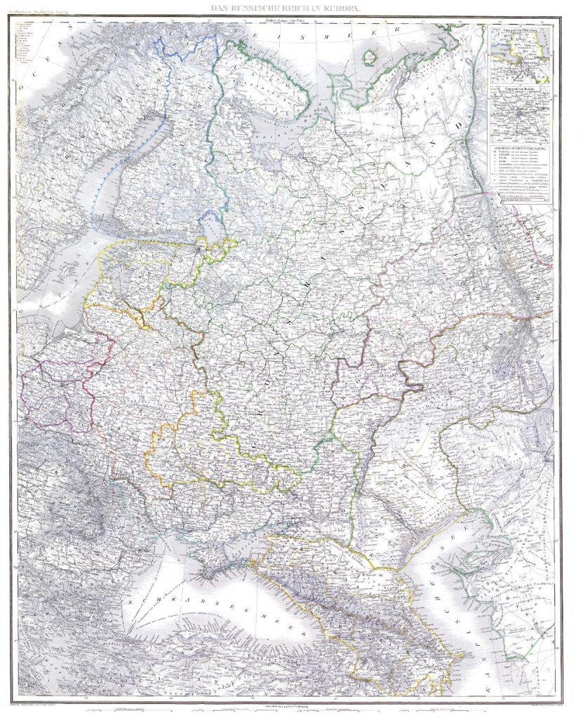 Карта Европейской России и Кавказского края, 1865 г.