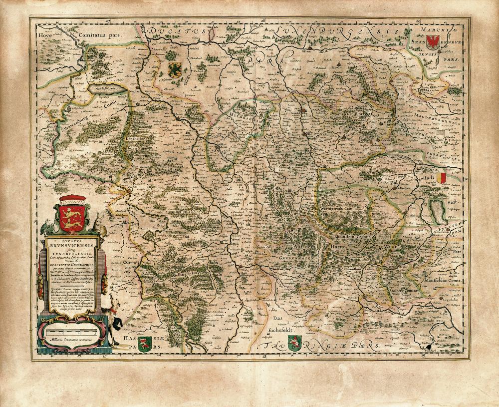 Карта герцогства Брауншвейг, 1645 г.