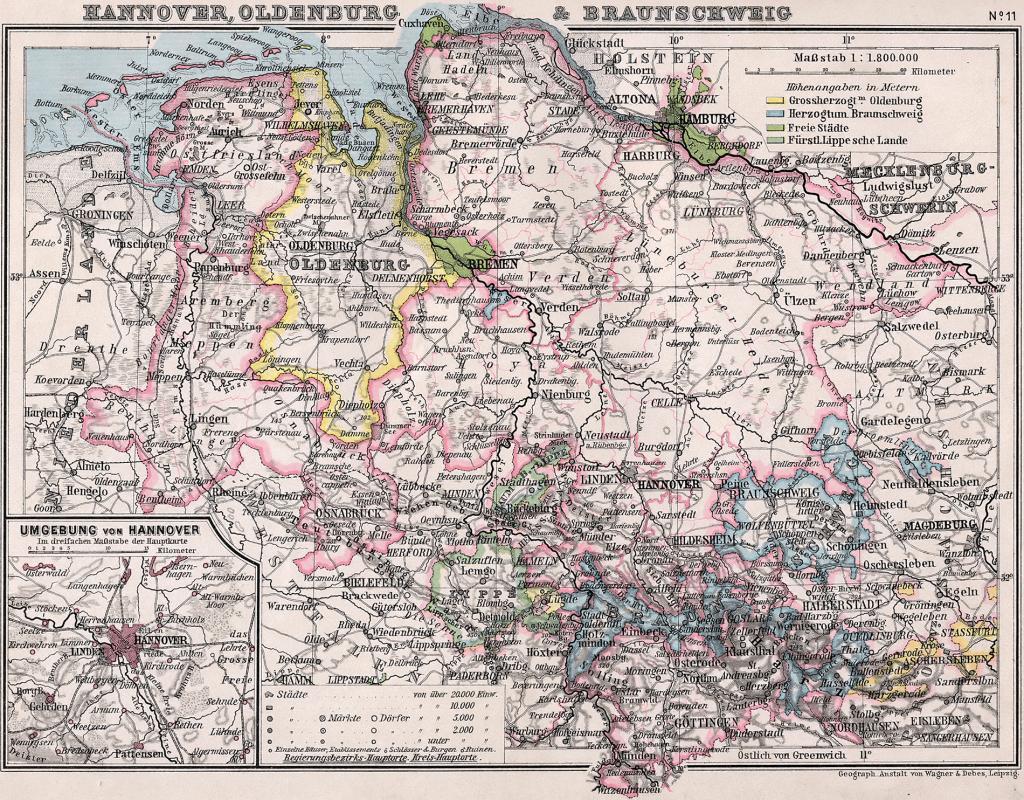 Карта Брауншвейга, Ганновера и Ольденбурга, 1905 г.