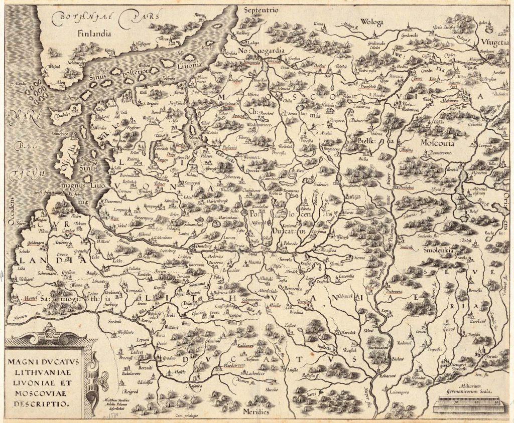 Карта Литвы, 1586 г.