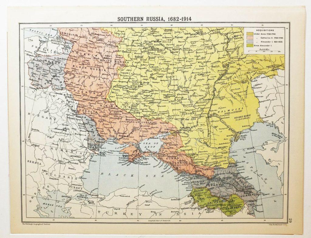 Карта территориальных приобретений России на юге в период с 1682 по 1914 гг.