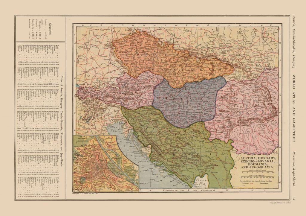 Карта раздела Австро-Венгрии, 1919 г.