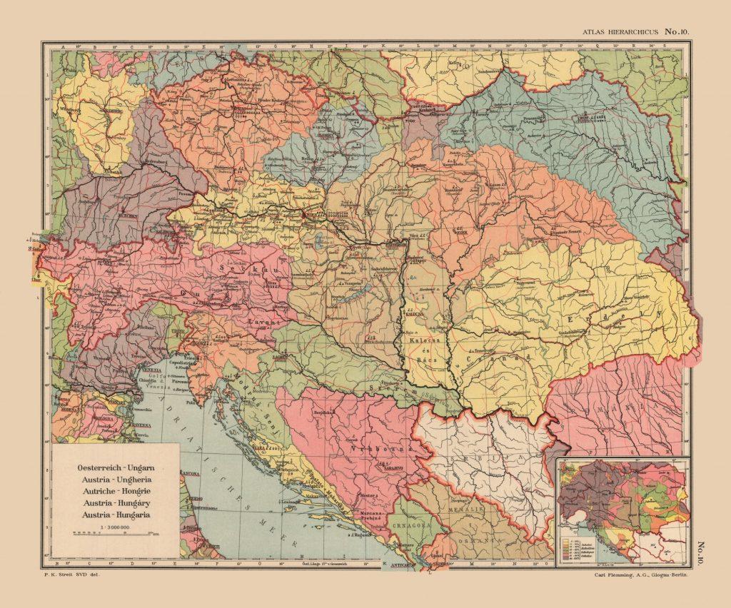 Карта Австро-Венгрии, 1913 г.