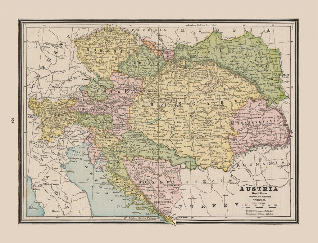 Карта Австро-Венгрии, 1888 г.