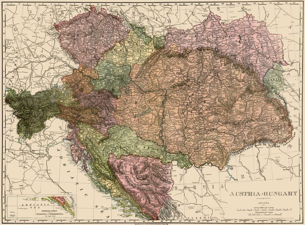 Карта Австро-Венгрии, 1895 г.