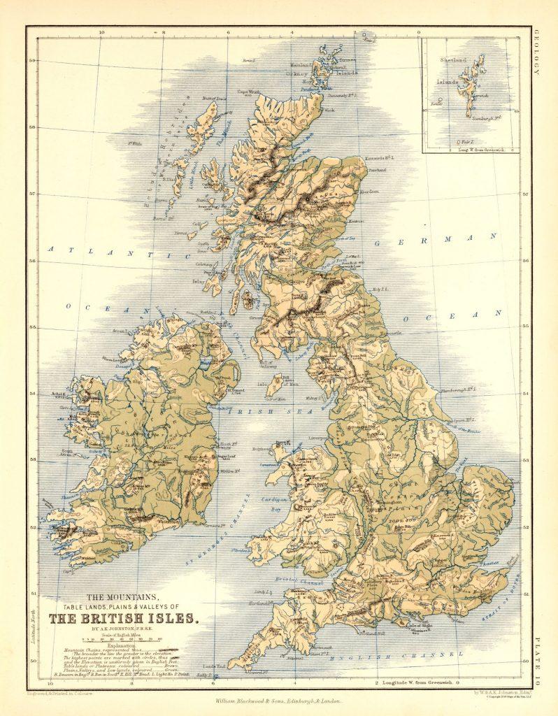 Карта гор, равнин, долины Британии и Ирландии, 1852 г.
