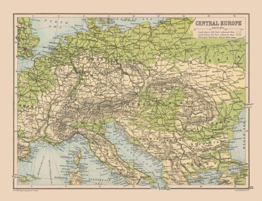 Карта Центральной Европы, 1892 г.