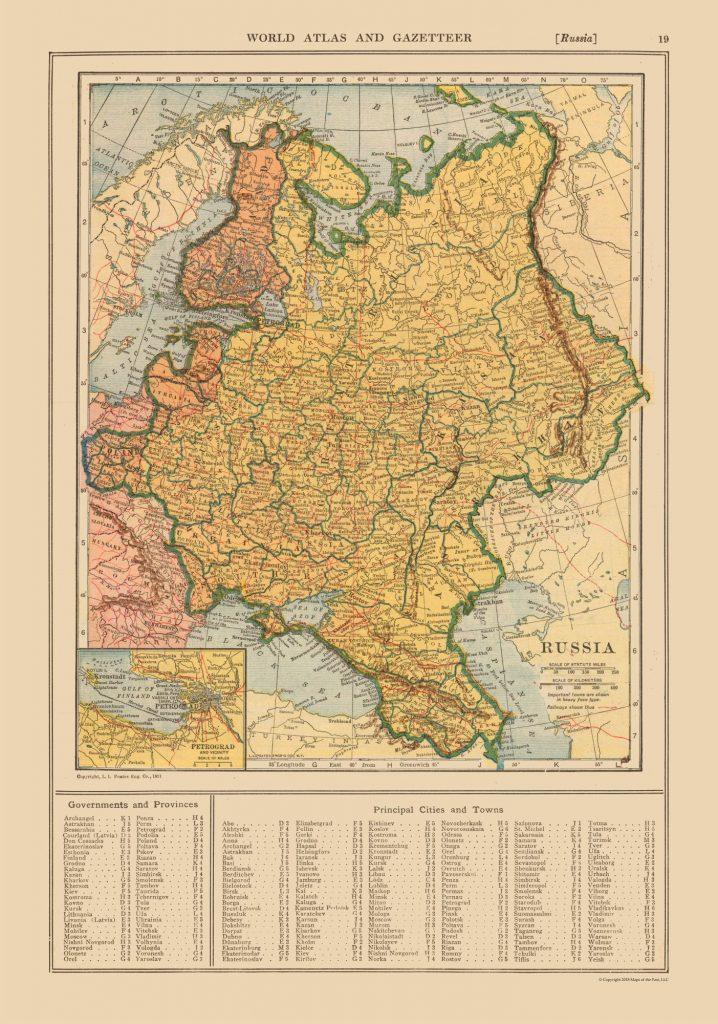 Карта территориальных изменений после Первой Мировой войны (1921 г.)