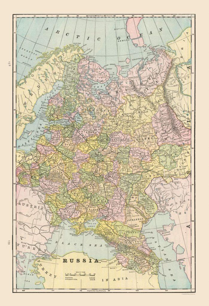 Карта Европейской России, 1892 г.