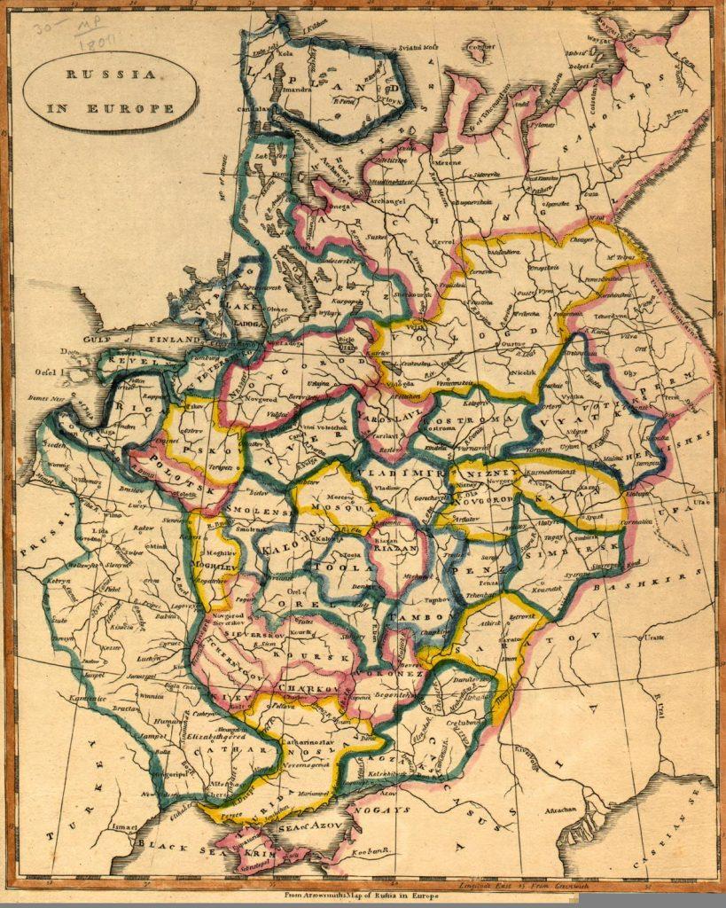 Карта Европейской части России, 1812 г.