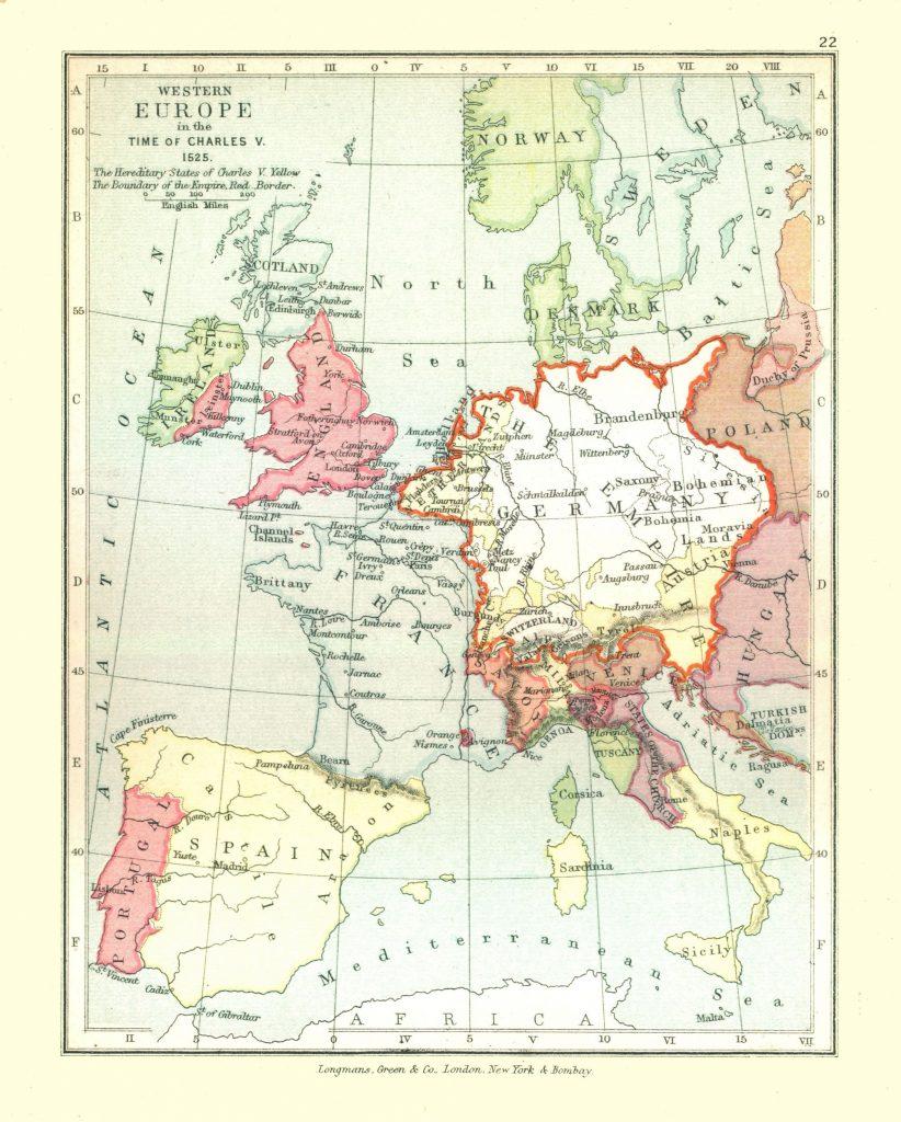 Карта Западной Европы, 1525 г.