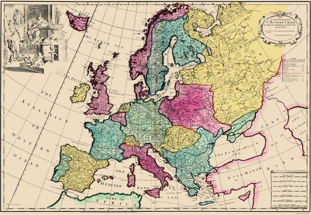 Карта Европы, 1740 г.
