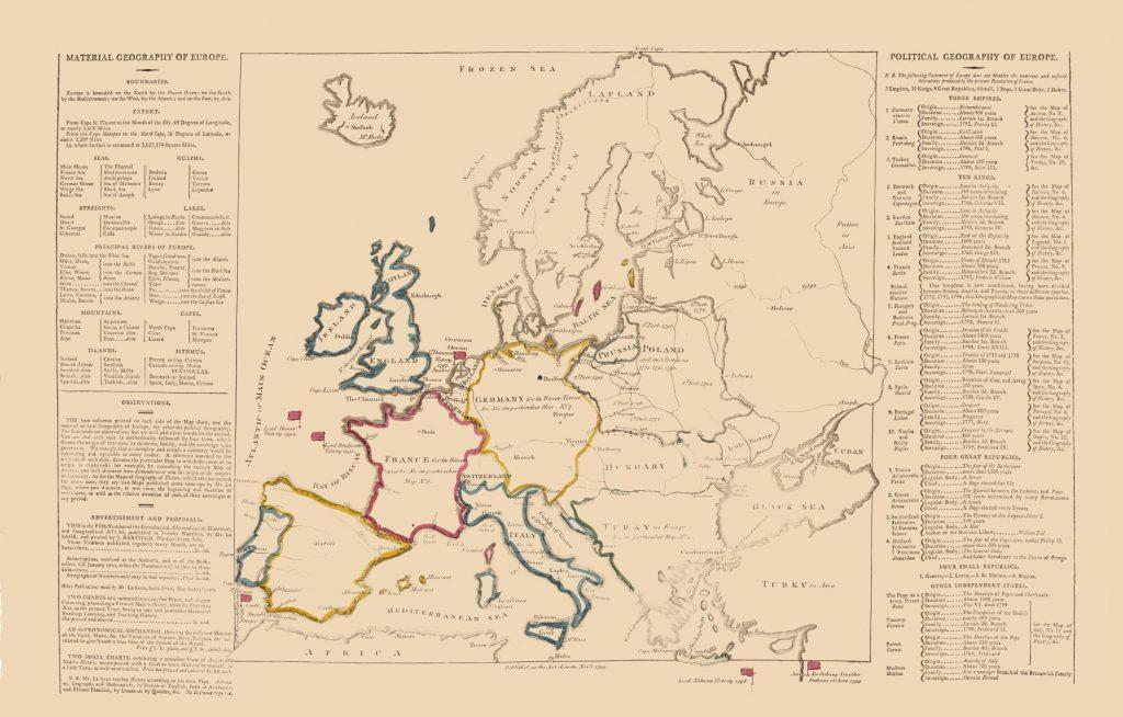Карта Европы, 1802 г.