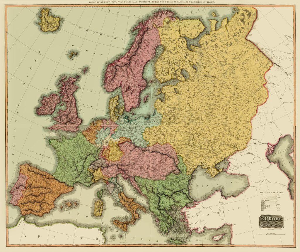 Карта Европы после Венского конгресса, 1815 г.