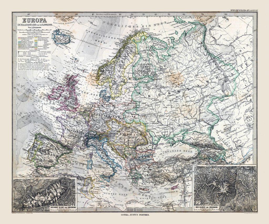 Карта Европы, 1885 г.