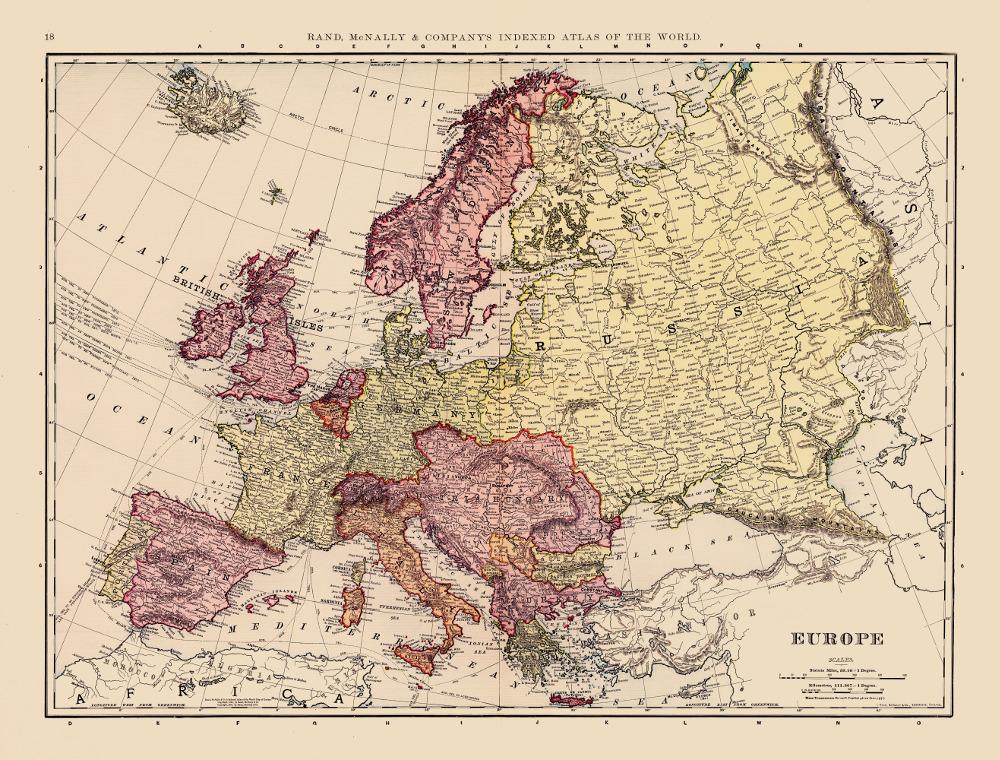 Карта Европы, 1898 г.