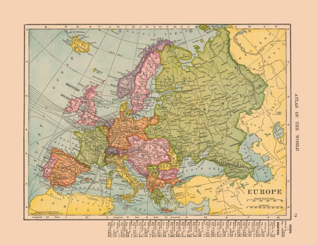 Карта Европы, 1910 г.