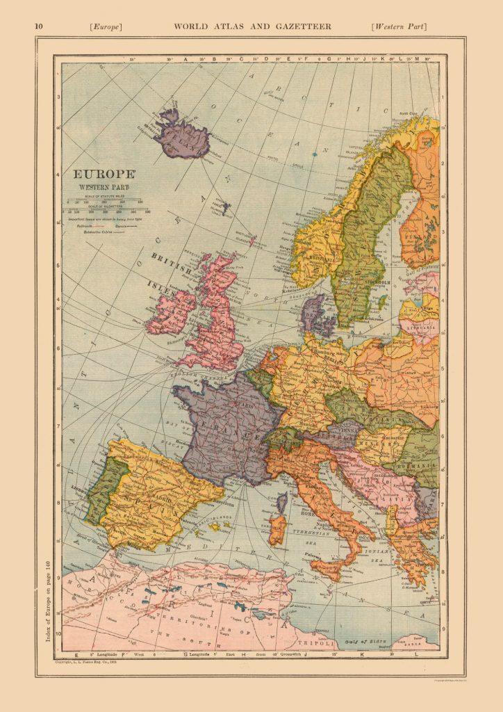 Карта Европы (Западная часть), 1919 г.