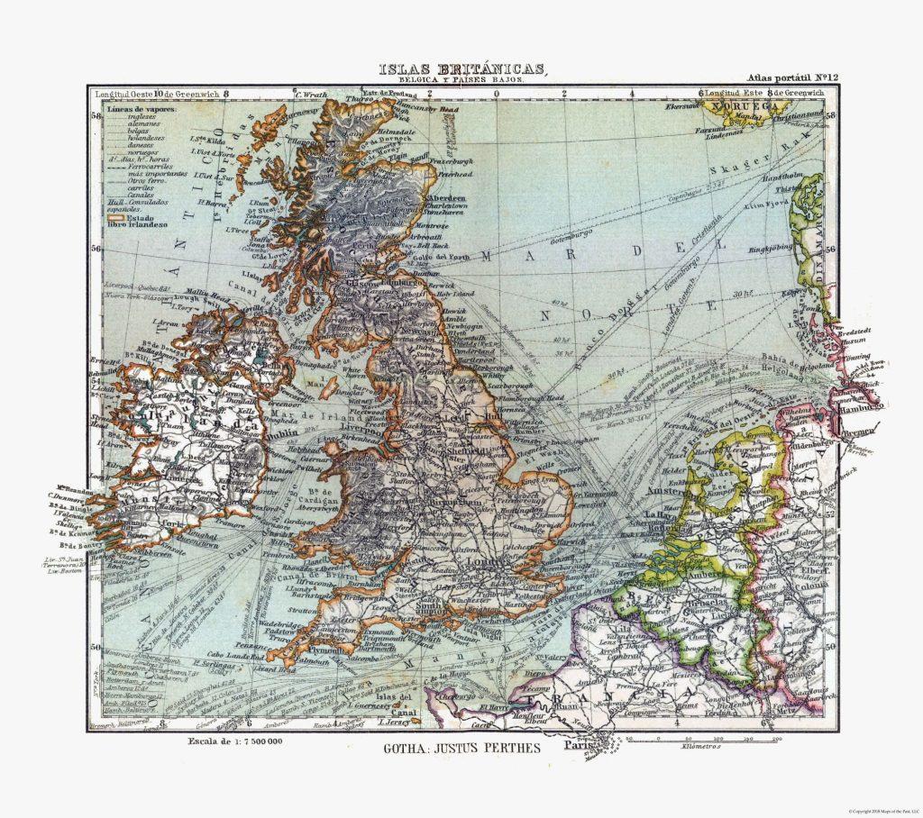 Карта Британии, Ирландии, Бельгии, Нидерландов, 1921 г.