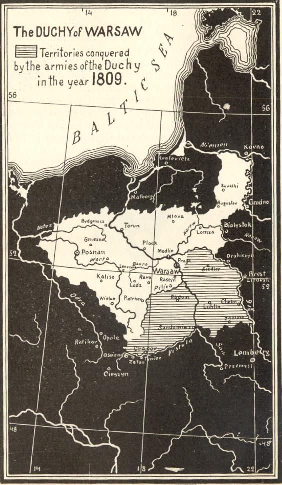 Карта Варшавского герцогства, 1809 г.