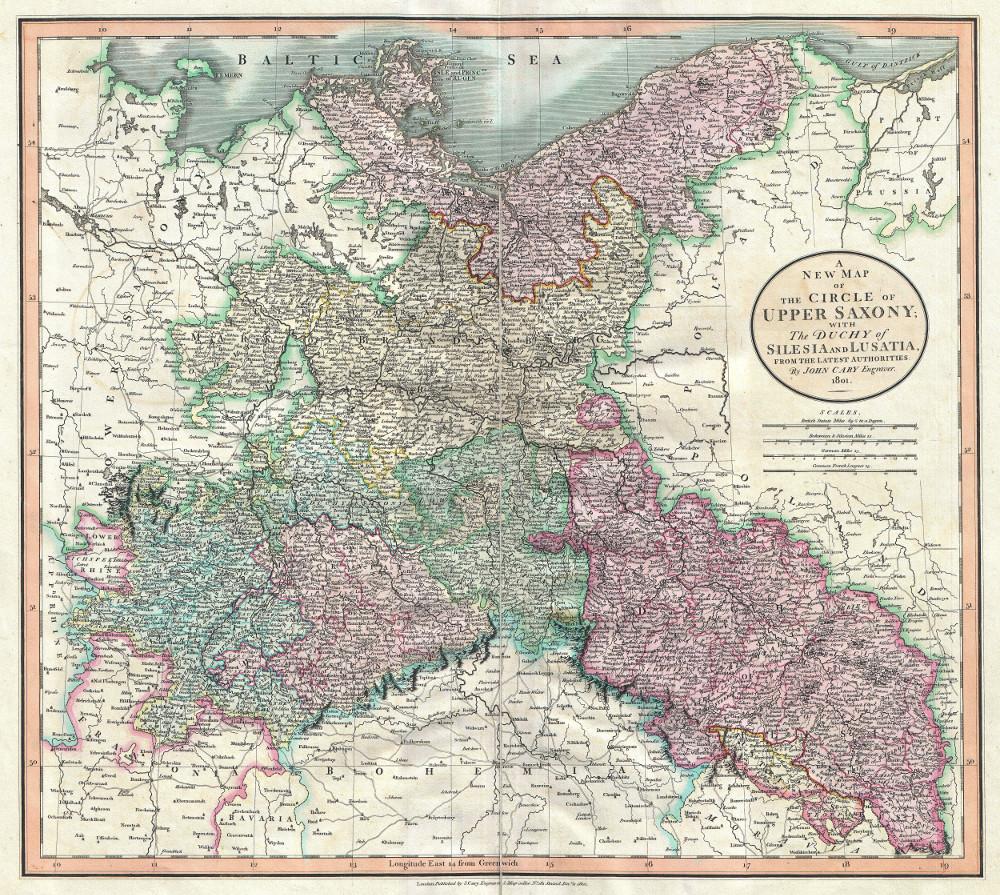 Карта Верхней Саксонии, Силезии и Лужицы, 1801 г.