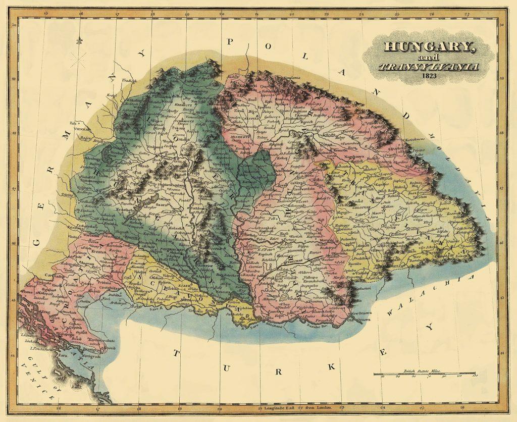 Карта Венгрии, 1823 г.