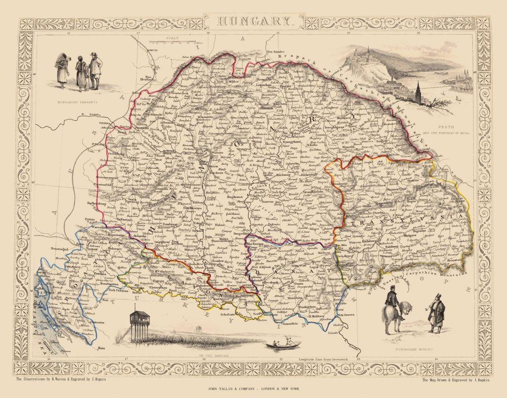 Карта Венгрии, 1851 г.