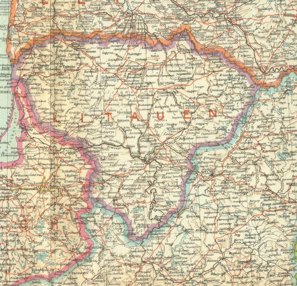 Карта Литвы, 1935 г.